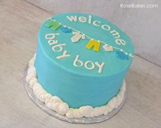 Simple Boy Baby Shower Cake.  Welcome Baby Boy Clothes Line Baby Shower Cake