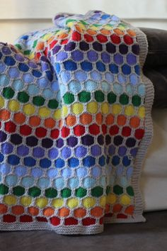 Rainbow Honeycomb Blanket Free Knitting Pattern