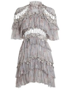 Zimmermann Stranded Tier Mini Dress.Iris Floral silk crinkle georgette,  Mini dress with tiered frills and embroidered floral motifs at shoulders, waist and skirt.