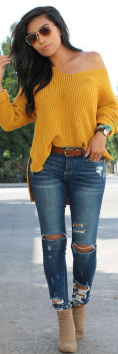 How to wear fall fashion outfits with casual style trends Mode Outfits, Jean Outfits, Casual Outfits, Fashion Outfits, Jeans Fashion, Fashion Clothes, Fashion Mode, Look Fashion, Womens Fashion
