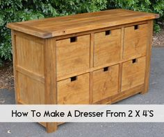 Yes, you can make a functional, great looking dresser with 6 drawers…all from 2×4's! If you are just getting into making your own furniture, this simple but stylish project is for you. Cut, hammer and glue your masterpiece and then stain it to match your décor. See the full plans at ana-white.com here… DIY Dumpster …
