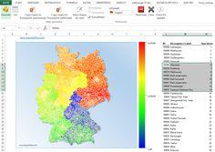 Postleitzahlenkarte Deutschland Excel - automatisch einfärben für KPI-Dashboards, Vertriebskennzahlen Diagramme und Organisationskarte. Vertriebsgebiete einfärben mit Excel, CRM oder Datenbanksystemen für Heatmaps und Einzugsgebiete. Esri Shp, KML, TopoJSON auf Anfrage