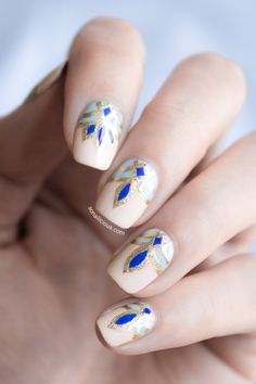 Patterned Nails in nude, blue & gold, inspired by opulent Abu Dhabi decor - stylish alternative manicure; nail art