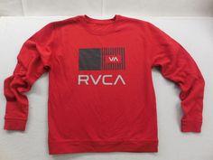 New RVCA Mens Red Balance Of Opposites Graphic Print Pullover Sweatshirt Size M #RVCA #SweatshirtCrew