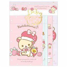 cute Korilakkuma bear strawberry Letter Paper Set by San-X 1