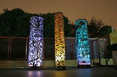 Amy Blackstone, Fire, Air, Earth and Water, steel cutout columns and illumination. Outdoor Art, Outdoor Lighting, Red Art, Light Installation, Landscape Lighting, Light Art, Environmental Graphics, Sculpture Art, Steel Sculpture