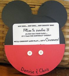 DIY Mickey Mouse invite