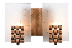 Varaluz 180B02 Dreamweaver Collection 2 Light Bath Light, Blackened Copper  Finish With Frosted Plate