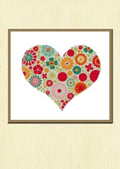 Cross Stitch Pattern Heart Motif 10 x 85 DMC / by OlgaRitchieArt, £1.50