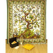QUEEN GREEN INDIAN HIPPIE MANDALA TREE LIFE TAPESTRY BEDSPREAD Beach Dorm Decor