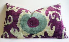 Sukan / Purple ikat pillow cover  handmade ikat throw by sukan