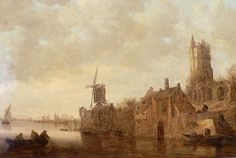 Jan van Goyen, Watery Landscape with Windmill and Ruined Castle, 1644 (Collection of Louis XVI, 1780)