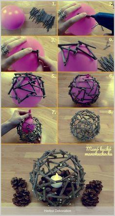 Őszi dekoráció - Hangulatos gömb faágakból - Manó kuckó- in 2020 Diy Crafts Hacks, Diy Home Crafts, Diy Arts And Crafts, Creative Crafts, Fun Crafts, Crafts For Kids, Diy Projects, Craft Ideas For Adults, Twig Crafts
