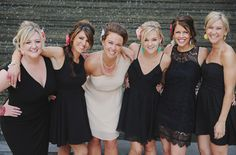 Exactly what I'm doing! Bridesmaids in short black dresses with pops of color in their accessories.