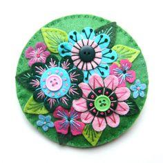 Large 'ABUNDANCE' felt brooch with freeform embroidery