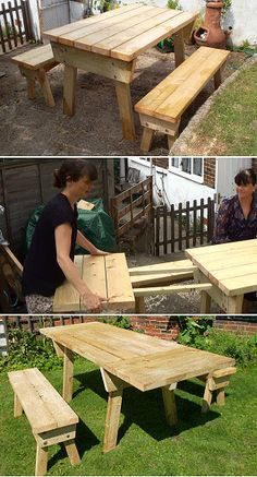 Three Stages Of The Extendable Picnic Table DIY Tutorial Free Plans