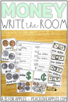 Integrate math into literacy centers or use this write the room activity during math centers to practice money vocabulary