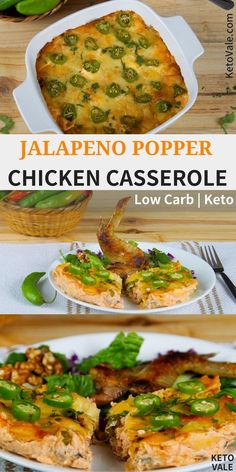 Super delicious low carb keto friendly chicken casserole with jalapeño, bacon, and cheese recipe