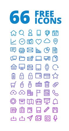 Free Download - 66 OUTLINE FREE ICONS SET