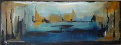 Abstract in acryl  30 x 80 cm. Eigen werk. beschikbaar