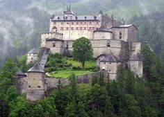 Hohenwerfen Castle - In the Salzach Valley, surrounded by the Berchtesgaden Alps & the Tennenebirge mountain range, the town of Werfen sits far below Castle Hohenwerfen. It was built in the years 1075-1078 by Archbishop Gebhard of Salzburg, who also had built Hohensalzburg and Petersberg Castle at Friesach in Corinthia