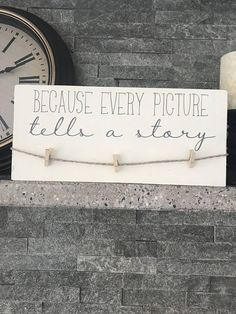 Because Every Picture Tells a Story Wood Sign with Clothes Pins to Hang Photos - - The Effective Pictures We Offer You About cedar Wood Projects A quality picture can tell you many thing Pallet Crafts, Diy Wood Projects, Wood Crafts, Fall Projects, Popular Woodworking, Fine Woodworking, Woodworking Projects, Woodworking Skills, Woodworking Furniture