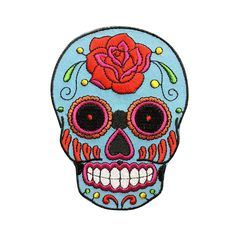 Blue Sugar Skull Rose Patches iron on patch Sew on patch punk patches Bag patch