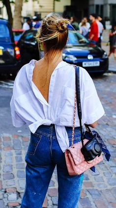 Love the look of a white blouse worn backwards