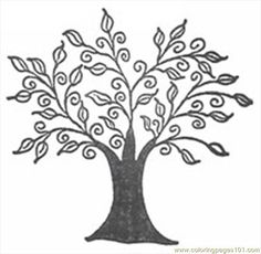 line art drawings of trees | free printable coloring page Swirly Tree R38x (Natural World > Trees)