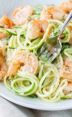 Shrimp and Zucchini Noodles in a Parmesan Pesto Cream Sauce