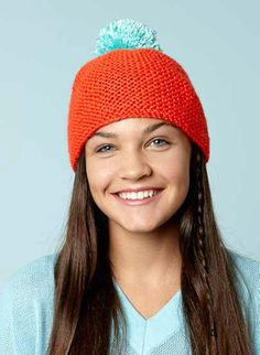 FREE Beanie With Bright Pompom knitting pattern in Caron Simply Soft - Downloadable PDF.- Great for beginners! Download at LoveKnitting