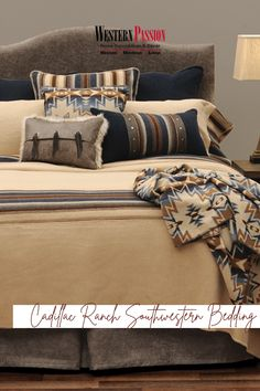 Southwestern Bedroom, Rustic Elegance, Bedding Collections, Midnight Blue, Cadillac, Color Combos, Westerns, Ranch, Throw Pillows