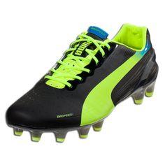 e1a0b760bada PUMA evoSPEED 1.2 FG - Black/Fluo Yellow/Brilliant Blue Firm Ground Soccer  Shoes
