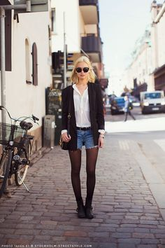 Miu; black, white and denim. #cut-offs #black #tights