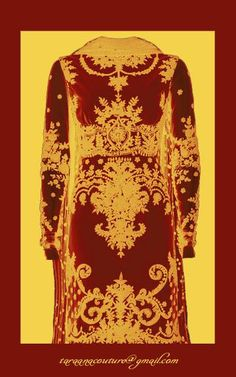 Red maroon kurta with beige gold embroidery. Booking Orders. Mail to taraanacouture@gmail.com Customisations done.