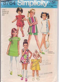 Vintage 1970s pattern girls Aline mini dress or by beththebooklady, $6.99