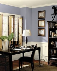 Fresh Airy Home Office Upper Wall Color Wisteria Wainscotting Trim