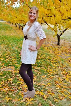 Fall outfit- cream lace dress with brown leggings and boots.