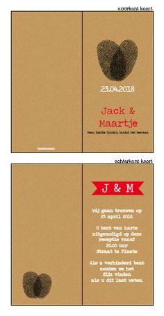 Trouwkaartje - Stoer trouwkaartje met karton look! Ontwerp of bewerk dit kaartje zelf! Met onze ontwerp tool. www.trouwkaarten-drukkerij.nl
