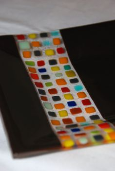 Urbane Espresso Brown Fused Glass Plate by Wendy Clark of Omega Glass on Etsy…