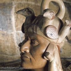 Moche 4 (Mochica) ceramic pot vessel in the form of portrait head of a man with bird headdress. Portrait Art, Portraits, Machu Picchu, Colombian Art, Sculpture Head, Hispanic Culture, Mesoamerican, Maya, Native American Art