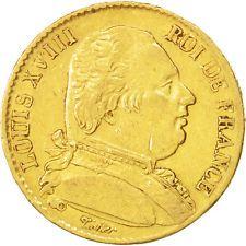 [#13658] Louis XVIII, 20 Francs Or Buste Habillé 1815 Lille, KM 706.6