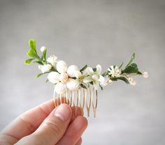 Mini Green Botanical Bridal Hair Comb with by ElevenSkiesStudio