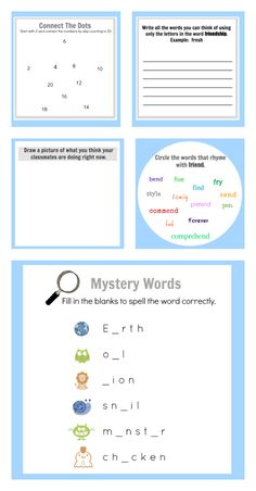 FREE Printable Activity Sheets - No Time For Flash Cards