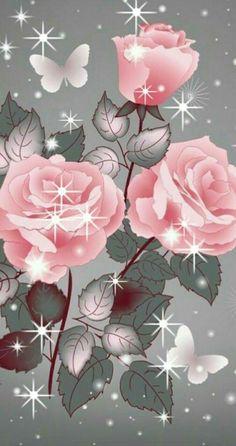 By Artist Unknown. Flower Phone Wallpaper, Heart Wallpaper, Butterfly Wallpaper, Cellphone Wallpaper, Pink Wallpaper, Wallpaper Backgrounds, Beautiful Flowers Wallpapers, Pretty Wallpapers, Beautiful Roses