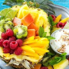 This tropical fruit salad with creamy coconut almond dip is a make-ahead dish that's perfect for entertaining!