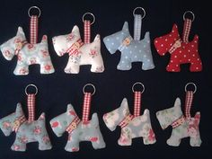 Scottie dog key ring, bag charm in Cath Kidston fabric