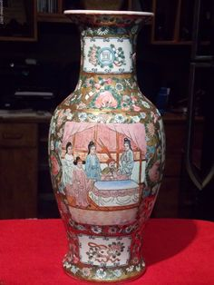 #155 VINTAGE GOLD GILT CHINESE VASE W COURT SCENE AND FLORAL HAND PAINTED DECOR