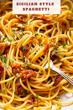 This Sicilian spaghetti dish is simple and delicious. Just mix in a fiery combo of sun-dried tomatoes, garlic, chillies into your pasta and you& got a gorgeous dinner! Easy Pasta Recipes, Spaghetti Recipes, Dinner Recipes, Easy Meals, Good Spaghetti Recipe, Italian Pasta Recipes, Vegetarian Recipes, Cooking Recipes, Sausage Recipes