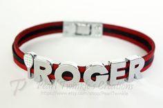 Roger Federer Tennis Fan Leather Bracelet by PearlTwinkle